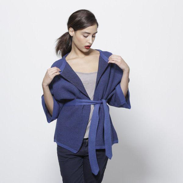 Giacche invernali - Blu cardigan maglione donne navy kimono top giacca - un prodotto unico di AndyVeEirn su DaWanda