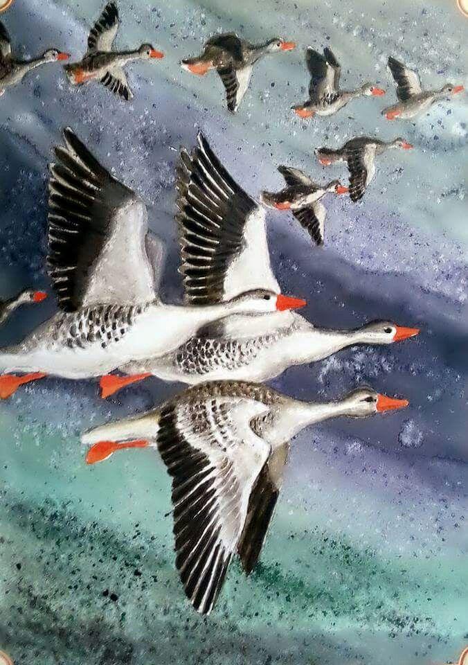 Vadludak bird painting aquarell by Gábor Emese artist