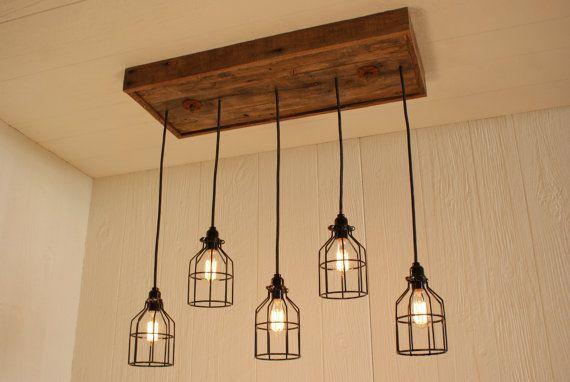 DIY? Cage Light Chandelier  Cage Lighting  Edison by Bornagainwoodworks, $365.00