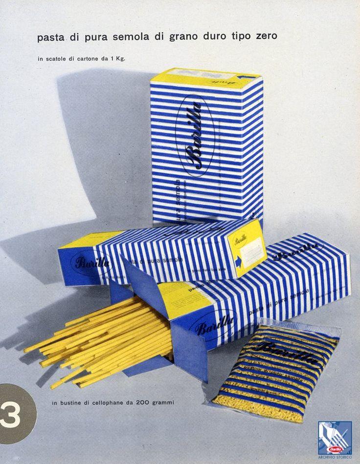 Righe bianche e azzurre per il nuovo vestito della pasta #Barilla. Di grande stile! Correva l'anno 1952.