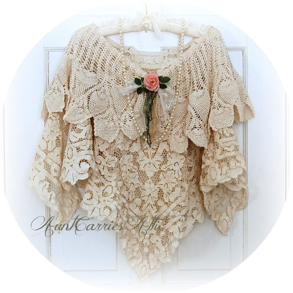 Layered Antique Crochet Lace Shawl Poncho