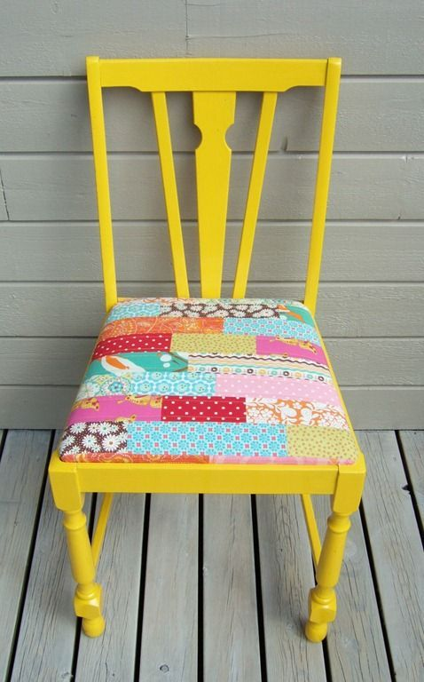 Patchwork reupholstered painted chair