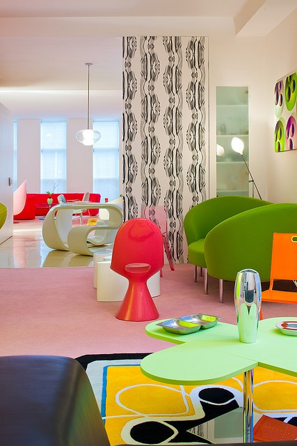 Chelsea Loft designed by Karim Rashid  It reminds me of the Barbie furniture I played with in the 70's. ;) Awesome!