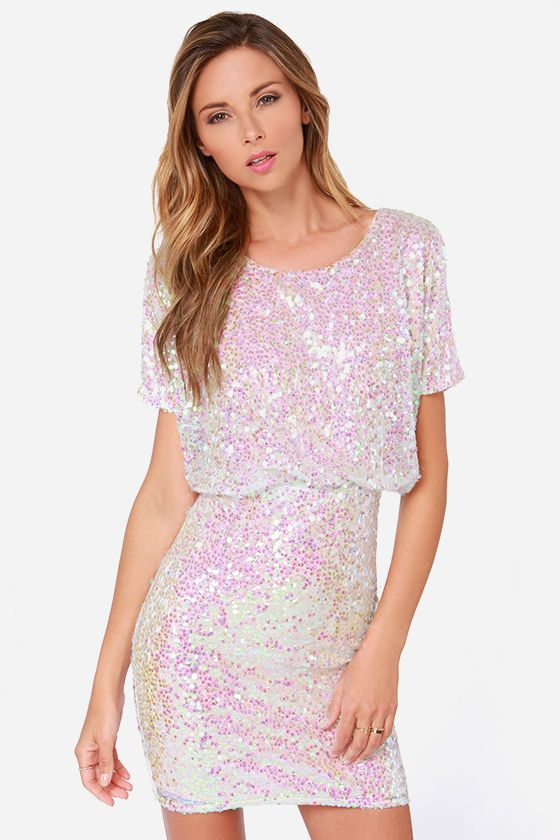 LULUS Exclusive Make Me Over Cream Sequin Dress would be cute for NYE