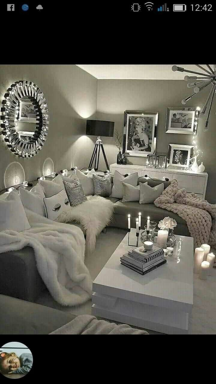Silver Living Room Decor New Glamourous Yet Fy Decoracionni Ashabitacion Apartment Living Room Design Apartment Living Room Glam Living Room #silver #and #white #living #room #decor