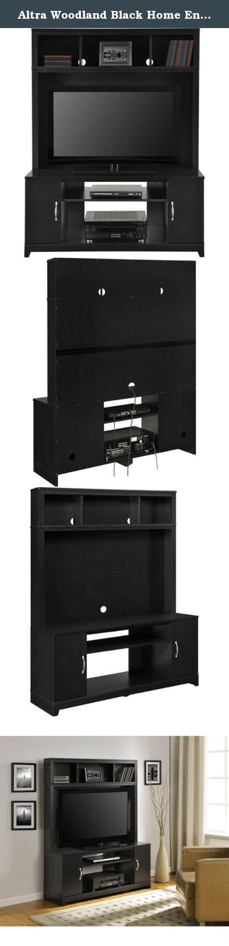 """Altra Woodland Black Home Entertainment Center for TVs up to 42"""" With Lots Of Storage Shelves And Cabinets. The Woodland Home Entertainment Center provides you a TV Stand and storage center all in one. With lots of storage shelves and cabinets, there won't be any more DVD mess or cord clutter! This entertainment center will provide you with the large look you want without hurting your wallet."""