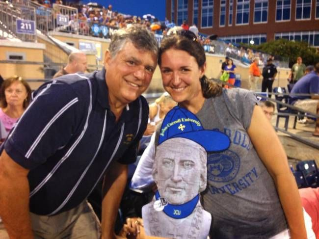 John Carroll at a Durham Bulls game with the Triangle, NC Alumni Chapter. With John are Allison (McDonnell) Kaufman '06 and her dad, Pat McDonnell '81! The new alumni chapter in North Carolina is not as large as…say Chicago, but the alumni are highly engaged and love their alma mater!