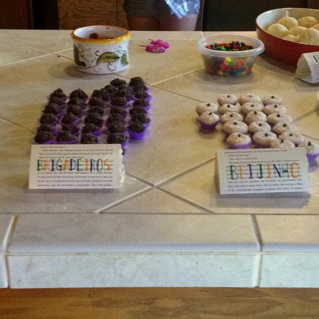 Such a cute idea for labeling food at a party (this one was a Brazillian birthday) ...or a book club get together!