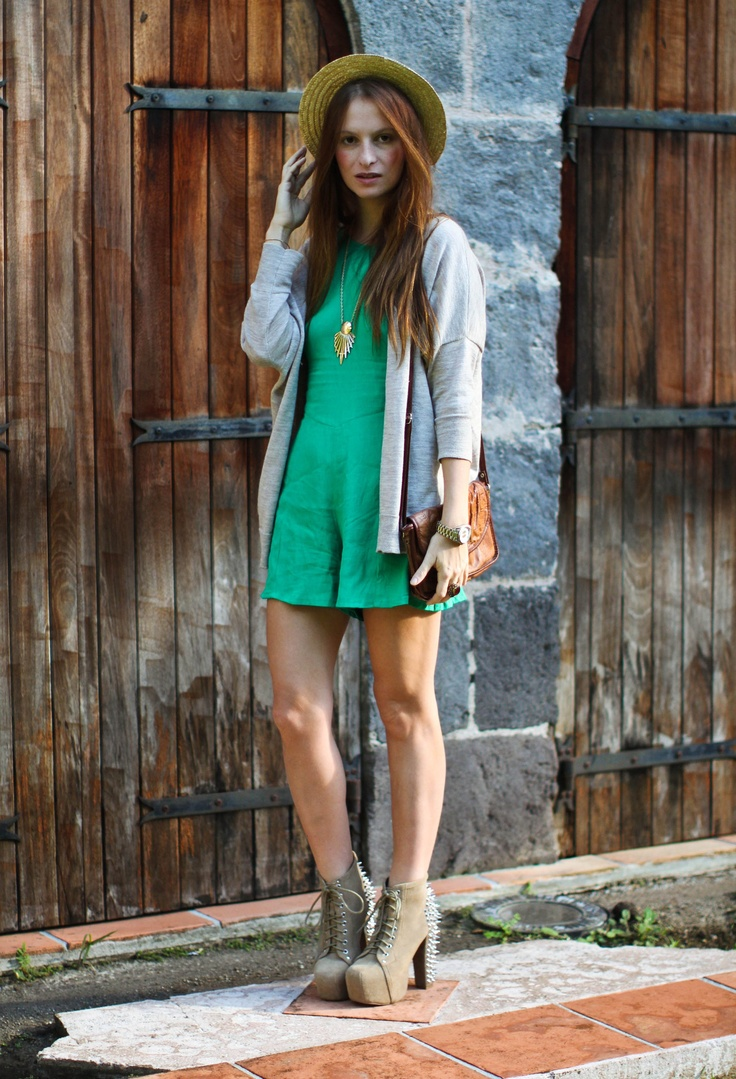 GREEN PLAYSUIT  #fashion #look #outfit #look