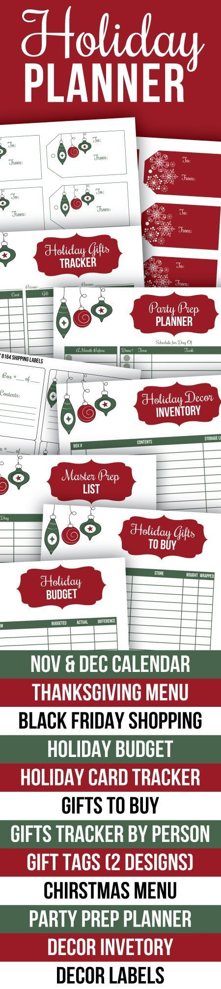 Printable Holiday Planner - everything you need to be organized this Christmas and Thanksgiving. Includes Nov and Dec calendars, Thanksgiving menu planner, Black Friday shopping list, holiday budget, holiday card tracker, gift lists, printable gift tags,
