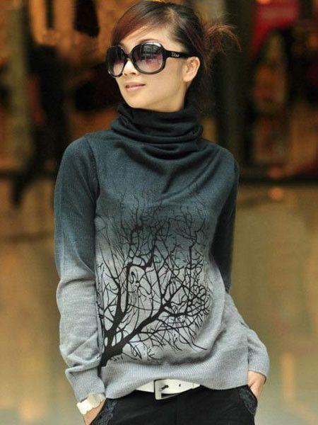 Cashmere Turtleneck Branch Pattern Gradient Color Sweater
