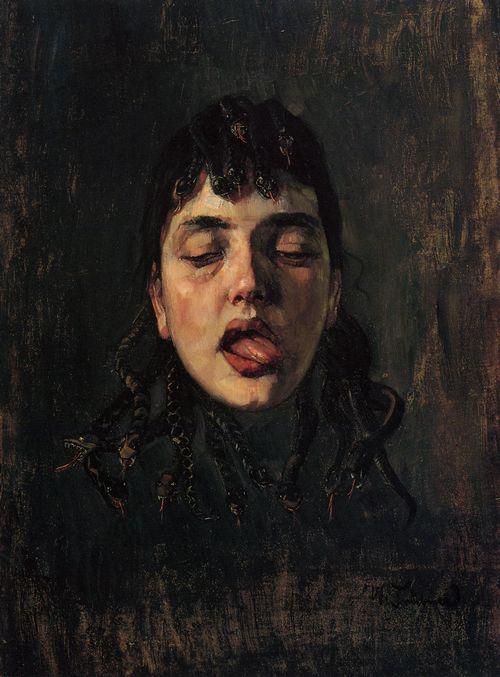 wilhelm trübner. gorgonenhaupt (medusa head),oil/paperboard1891