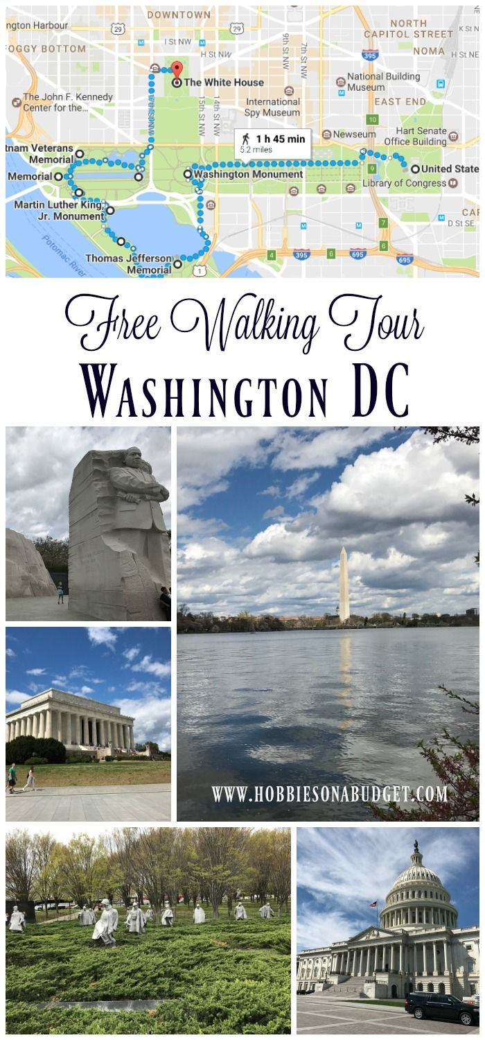 Free Walking Tour Washington DC Monuments,  This tour covers approximate 5 miles of walking and will take you past the Smithsonian Monuments, the Washington Monument, Lincoln Memorial and other war memorials.  You will also walk past the White House and Capitol Building.  Add in additional time for a side trip to Arlington Cemetery.  Hobbies on a Budget