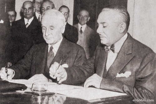 Dictator Rafael L. Trujillo of the Dominican Republic and Cordell Hull, Secretary of State, U.S. are shown signing the Good Neighbor Policy here on September 24, 1940.  Though 7 years after the U.S. adapted this policy there were still nations not willing to trust the U.S. because of past relations.  The Dominican Republic in particular had been used to U.S. intervention and control.  As a result of the Montevideo Conference the U.S. policy of controlling Latin and South America would…