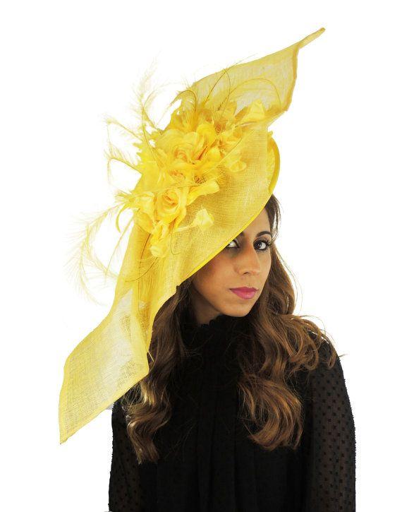 Elisaveta Lemon Yellow Fascinator Hat for Weddings, Races, and kentucky Derby With Headband