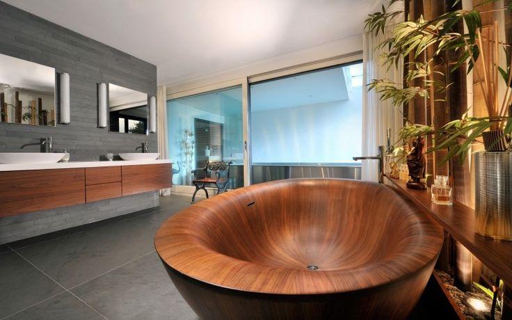 Moderne Badewanne Und Unterschrank Aus Wallnussholz. Minimalist ...