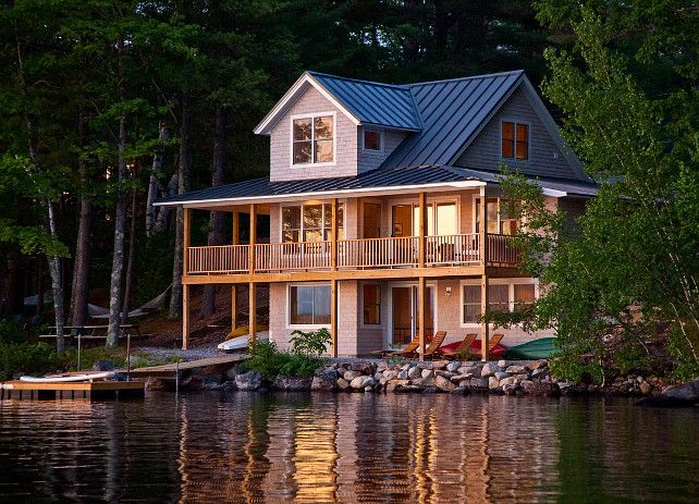 lake cottage. lake cabin. lake house with balcony. cabin, deck