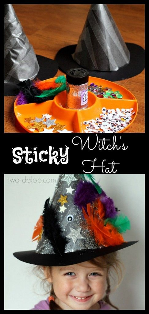 Make these sticky witch hats with contact paper, poster board, and collage materials to add some glamour! Great party activity!