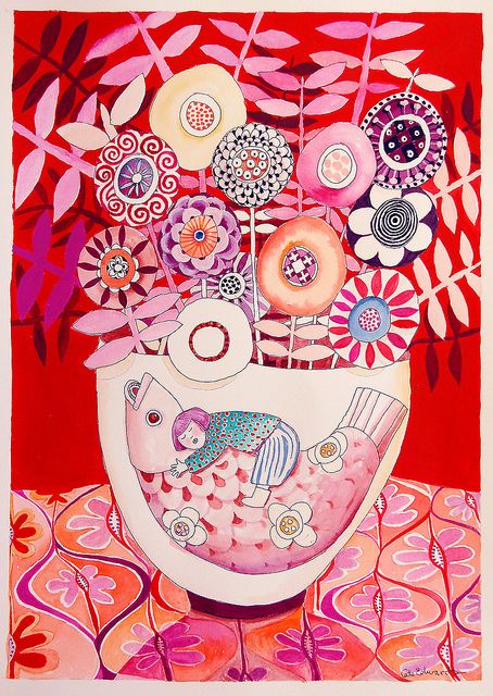 riding fish on bowl by cate edwards, via Flickr