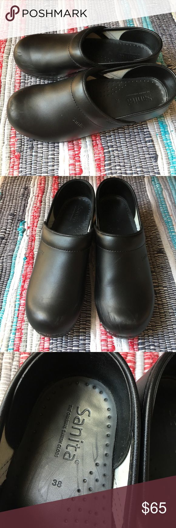Sanita clogs Black all leather clogs. Some wear on the front, picture above Sanita Shoes Mules & Clogs
