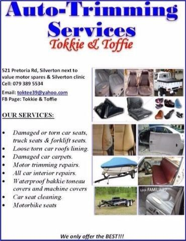 TOKKIE AND TOFFIE AUTOMOTIVE TRIMMERS PRETORIA Tokkie andTokkie Auto Trimmers has many years of experience in trimming, motors modern and classic, marine