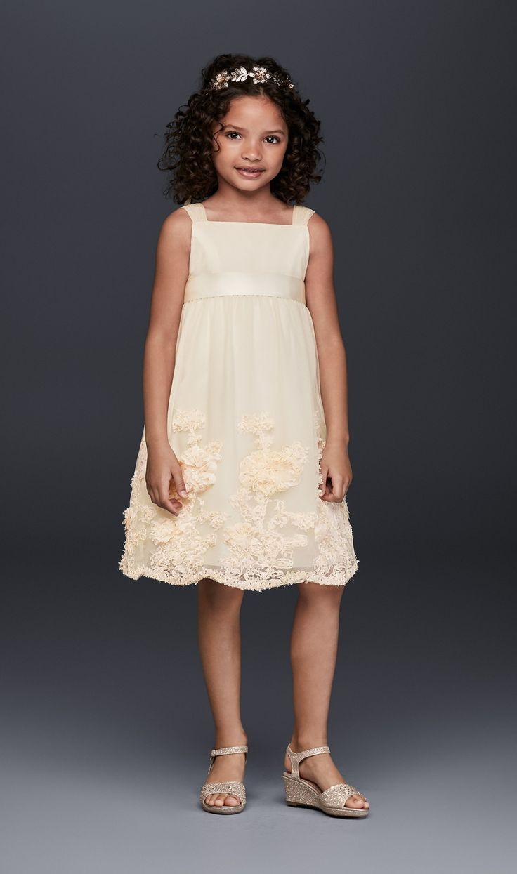 The 254 best flower girl ring bearer images on pinterest tulle flower girl communion dress with flowers champagne yellow 3 mightylinksfo