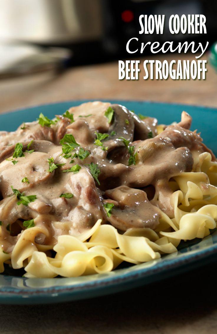Slow Cooker Creamy Beef Stroganoff Recipe - Beef bottom round steak ...