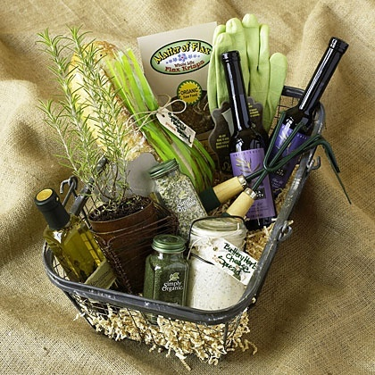 Gift Basket Ideas - Herbs and Garden Basket could include some different herb plants, dry herbs, oils, garden tools, etc., recipes,