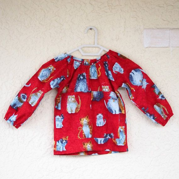 Art smock  S 2-4  Cats by UtopiaHandmade on Etsy