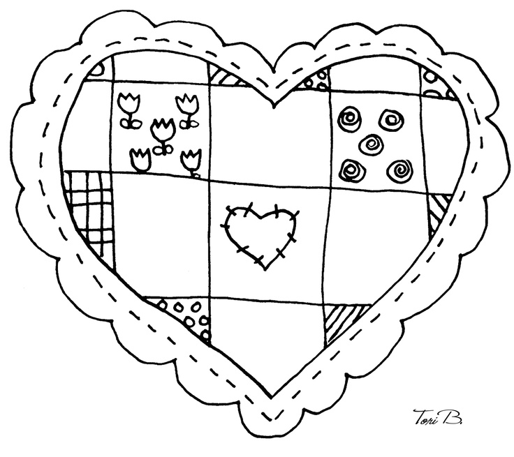 Patchwork Heart, Crudoodle FREE Digital Stamp by Tori