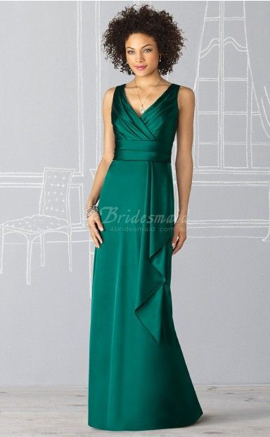 Mermaid V-neck Charmeuse Floor-length Jade Bridesmaid Dresses(BD235)