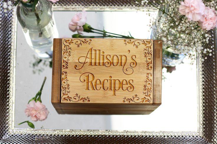 Recipe Box W Dividers Custom Engraved Recipe Box Kitchen