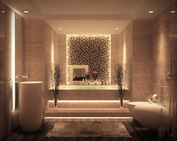 salle de bain de luxe avec mosaïque et grande baignoire
