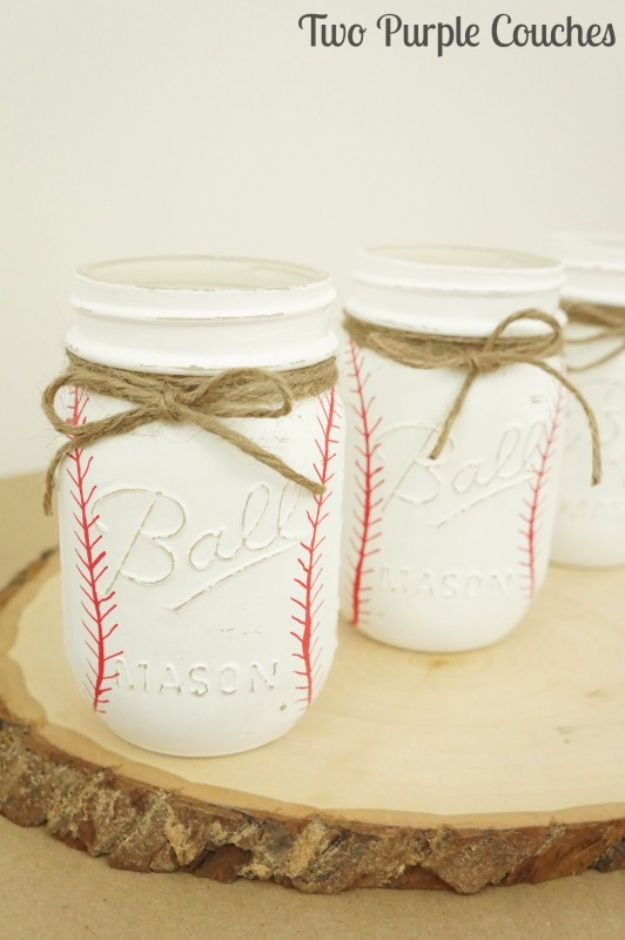 Mason Jar Crafts You Can Make In Under an Hour -DIY Painted Baseball Mason Jars - Quick Mason Jar DIY Projects that Make Cool Home Decor and Awesome DIY Gifts - Best Creative Ideas for Mason Jars with Step By Step Tutorials and Instructions - For Teens, For Home, For Gifts, For Kids, For Summer, For Fall http://diyjoy.com/quick-mason-jar-crafts