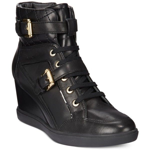 Geox D Eleni Wedge Sneakers ($200) ❤ liked on Polyvore featuring shoes, sneakers, black, kohl shoes, black wedge trainers, black wedge sneakers, geox shoes and geox