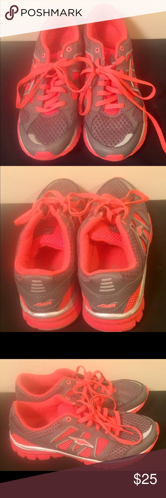 Ladies Size 9 Pink and Gray Avia Running Shoes. Like new worn a few times. Pink/Gray with Pink laces. Leather and man Made upper balance. Bottoms in excellent condition. Avia Shoes Sneakers