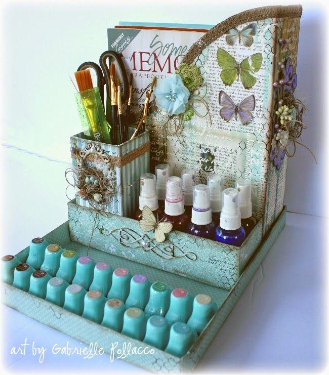 Desktop Organizer made by Bo Bunny design team member Gabrielle Pollacco using Enchanted Garden paper collection