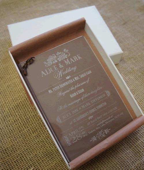 Boxed Acrylic Wedding Invitation
