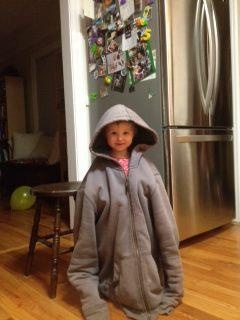 Maya dressed in Daddy's jacket :-)