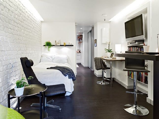 25sqm small apartment with modern style, rustic white painted brick wall and smart lighting