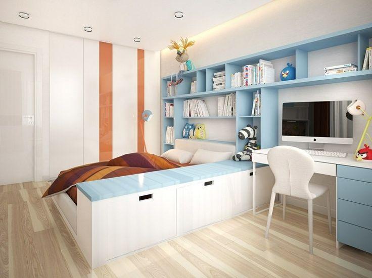 Schrankwand Idee mit eingebautem Bett und Schreibtisch