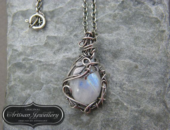 Silver moonstone pendant  Nature inspired  by DesignedByAnnemarie