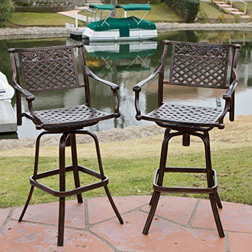 Sierra Outdoor Cast Aluminum Swivel Bar Stools Set of 2 * Find out more about the great product at the image link.