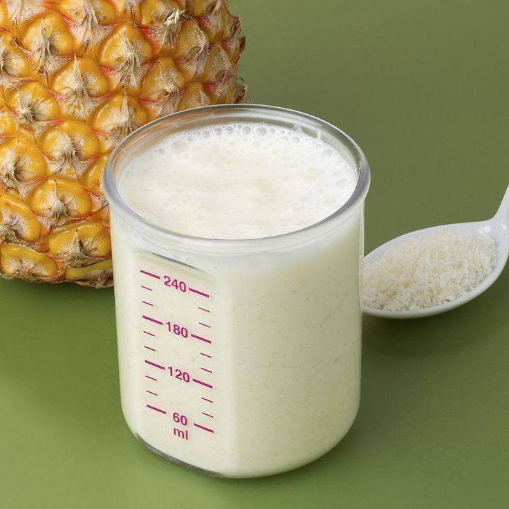 13 à 24 mois : Bébé pinacolada -      160 g ananas 20 ml lait de coco 2 càc noix de coco râpée