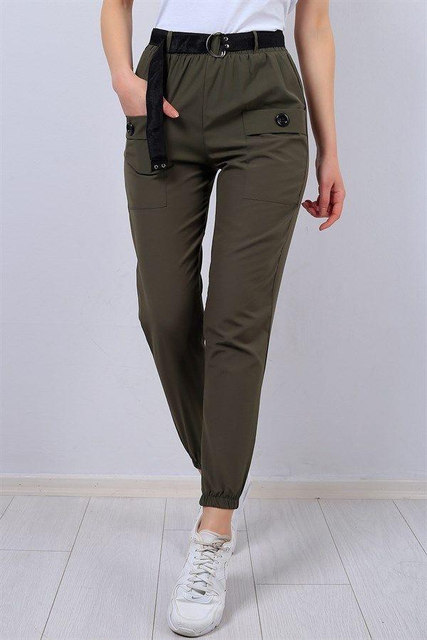 23 95 Tl Haki Kemerli Cep Detay Bayan Pantolon 12908b Modamizbir Pantolon Stil Kiyafetler Tarz Moda