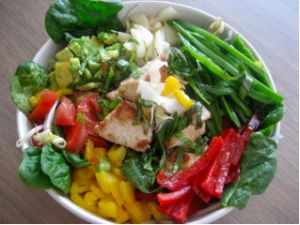Thai-Inspired Salad of Awesome | Primal Blueprint Meal Plan - added 2 teaspoons coconut cream to dressing,  Grilled TJ curry marinated chicken.