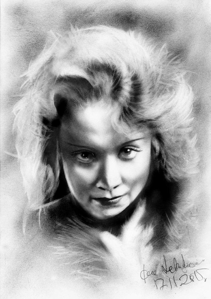 Marlene Dietrich. dry oil.