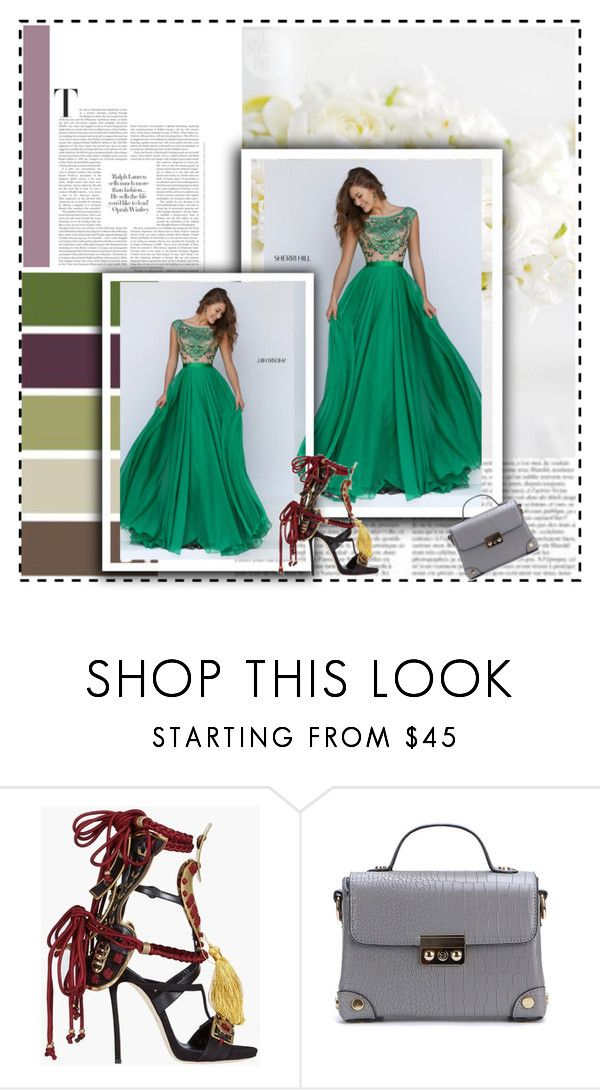 """""""Long Chiffon Skirt Sherri Hill 11332 Emerald Homecoming Dress"""" by xipowuriluh ❤ liked on Polyvore featuring Dsquared2, Mixit, dress and Homecoming"""