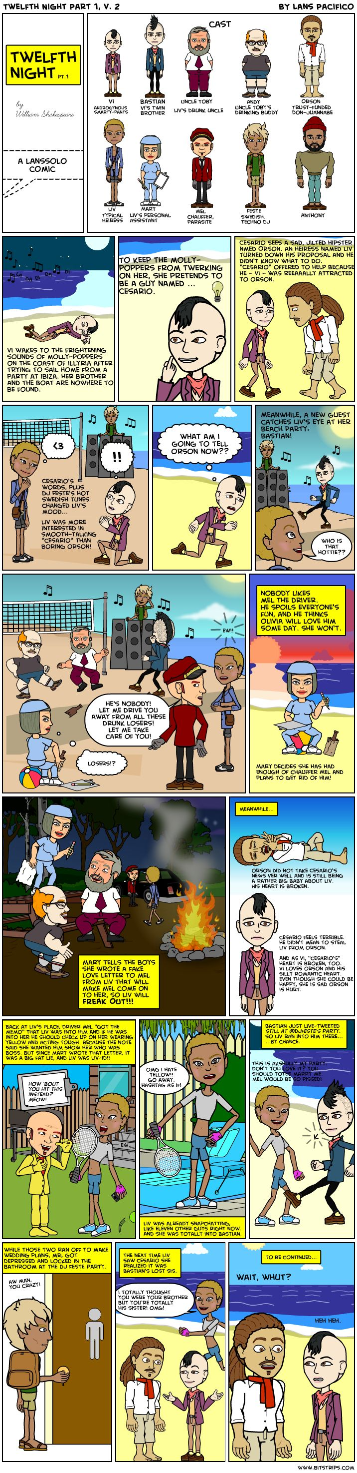 Winter 2013 cohort member Lans's awesome Bitstrip on Twelfth Night (part 1 of 2).: Member Lans S, Brit Lit, 2013 Cohort, Awesome Bitstrip, Cohort Member, English Literature, Lans S Awesome, Elnm Brit