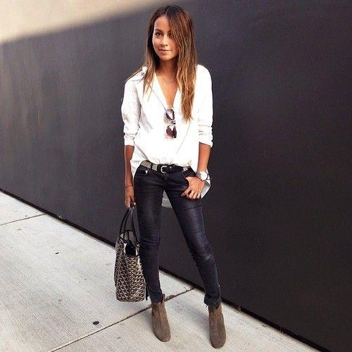 white blouses black jeans